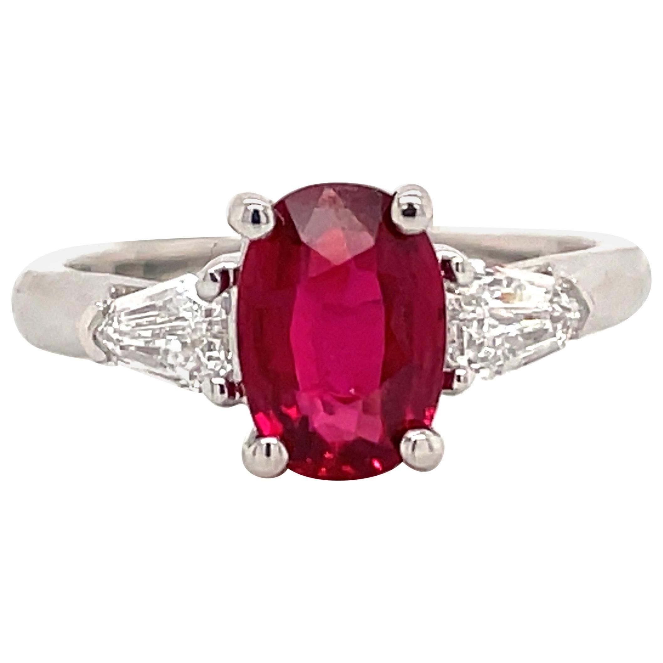 GIA Certified No Heat Ruby Diamond Three-Stone Ring Platinum 2.42 Carat