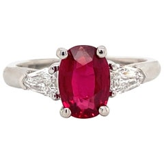 GIA Certified No Heat Ruby Diamond Three-Stone Ring Platinum 2.42 Carat