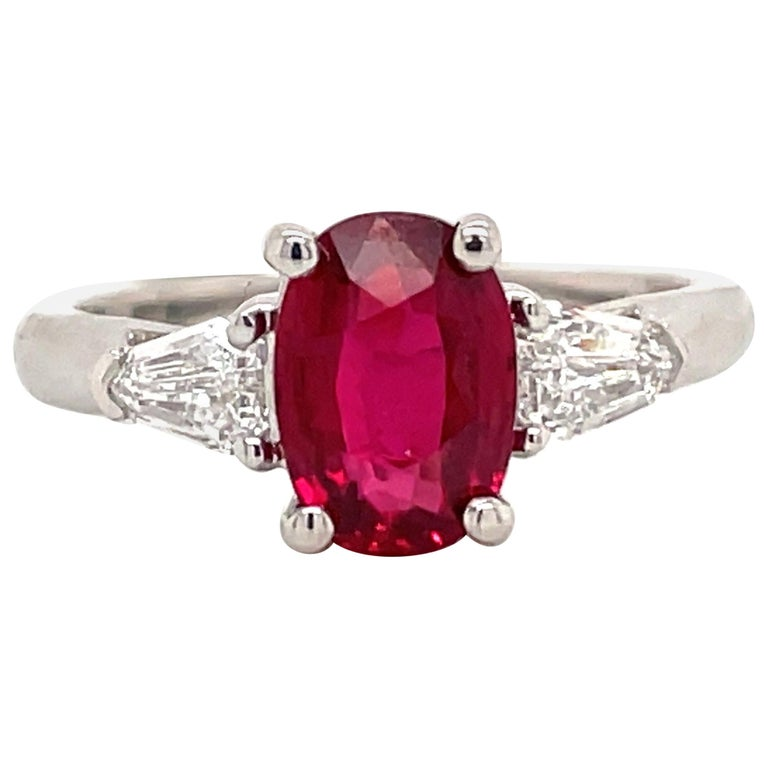 GIA Certified No Heat Ruby Diamond Three-Stone Ring Platinum 2.42 Carat For Sale