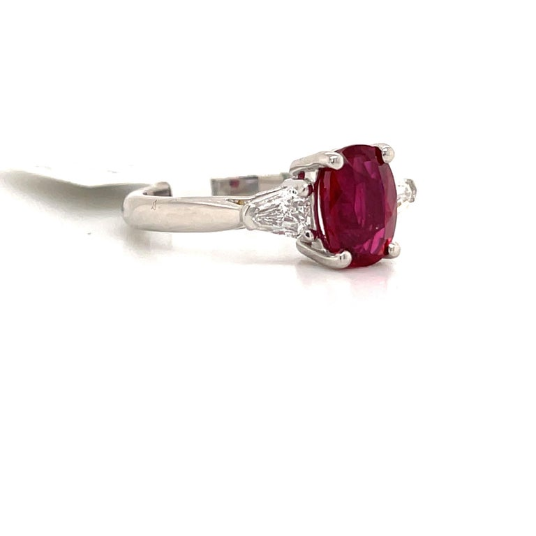 Contemporary GIA Certified No Heat Ruby Diamond Three-Stone Ring Platinum 2.42 Carat For Sale