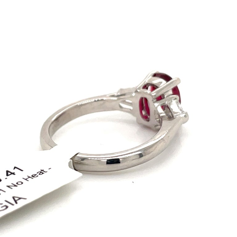 Women's GIA Certified No Heat Ruby Diamond Three-Stone Ring Platinum 2.42 Carat For Sale