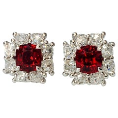GIA Certified No Heat Spinel and Diamond Stud Earrings in Platinum
