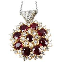 GIA Certified Non-Heat Burmese Ruby Diamond Pendant in 18 Karat Yellow Gold