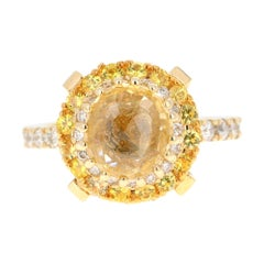 GIA Certified Non-Heated Yellow Sapphire Diamond 14k Yellow Gold Engagement Ring