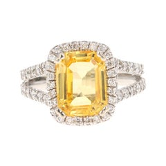 GIA Certified Non Heated Yellow Sapphire Diamond Engagement Ring 14 Karat Gold