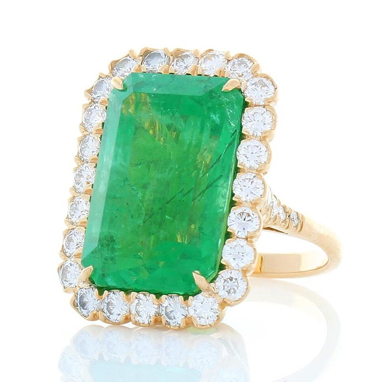 Emerald Cut GIA Certified 16.28 Carat Octagon Cut Emerald and Diamond Cocktail Ring  For Sale
