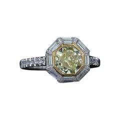 GIA Certified Octagonal Yellow Diamond Engagement Ring
