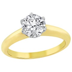 GIA Certified Old Euro Diamond 6 Prong Solitaire Gold Ring
