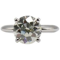 GIA Certified Old European Brilliant 3.09 Carat N SI1 Diamond Engagement Ring