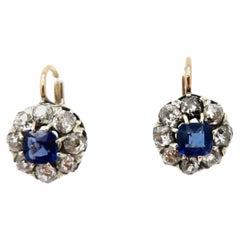 GIA Certified Old European Cut Diamond and Sapphire 14 Karat Two-Tone Earrings