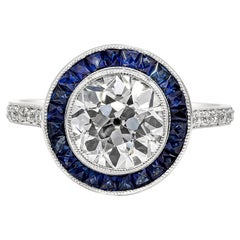 GIA Certified Old European Cut Diamond and Sapphire Halo Engagement Ring