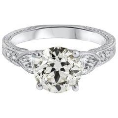 Roman Malakov GIA Certified Old European Cut Diamond Three-Stone Engagement Ring
