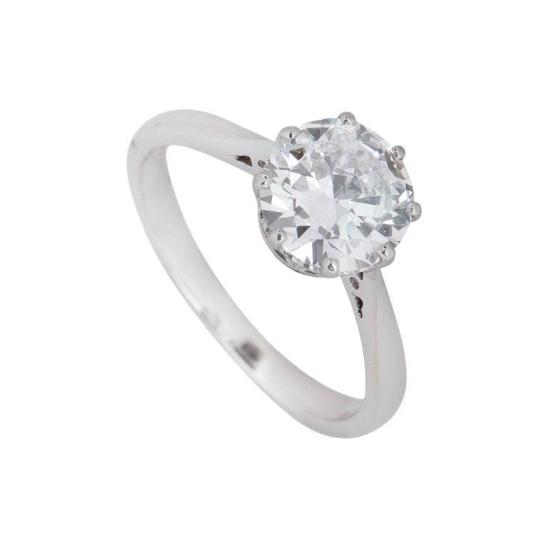 GIA Certified Old European Cut Platinum Diamond Solitaire Ring 1.72 Carat