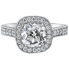 GIA Certified Old Mine Brilliant Cut Diamond Halo Engagement Ring