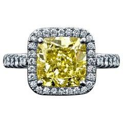 GIA Certified Original Cartier 3.02ct Cushion Fancy Intense Yellow Diamond Ring