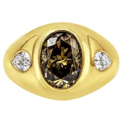 "GIA Certified Oval Cut Dark Brown Diamond Three-Stone ""Gypsy style"" Ring"