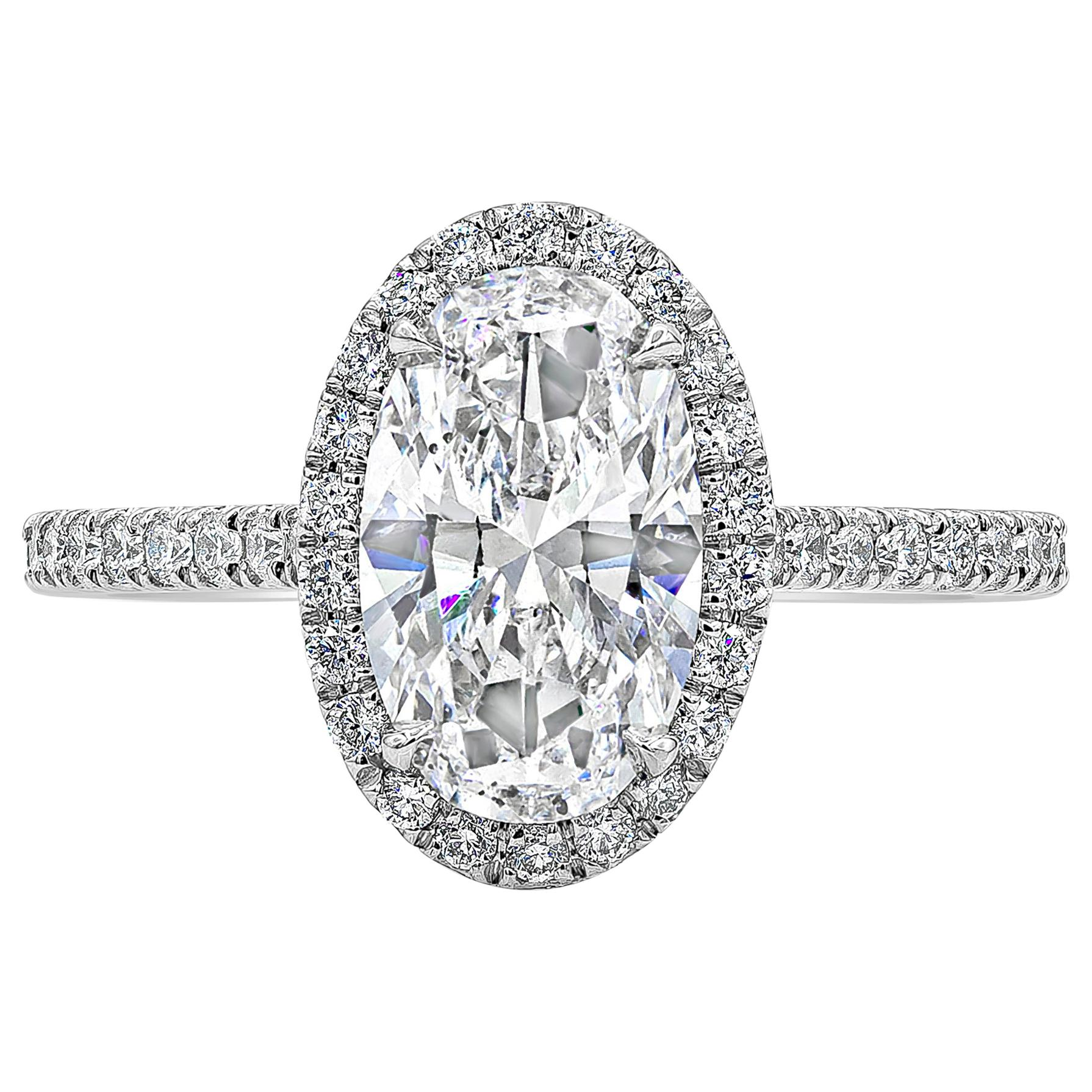 Roman Malakov, GIA Certified Oval Cut Diamond Halo Engagement Ring