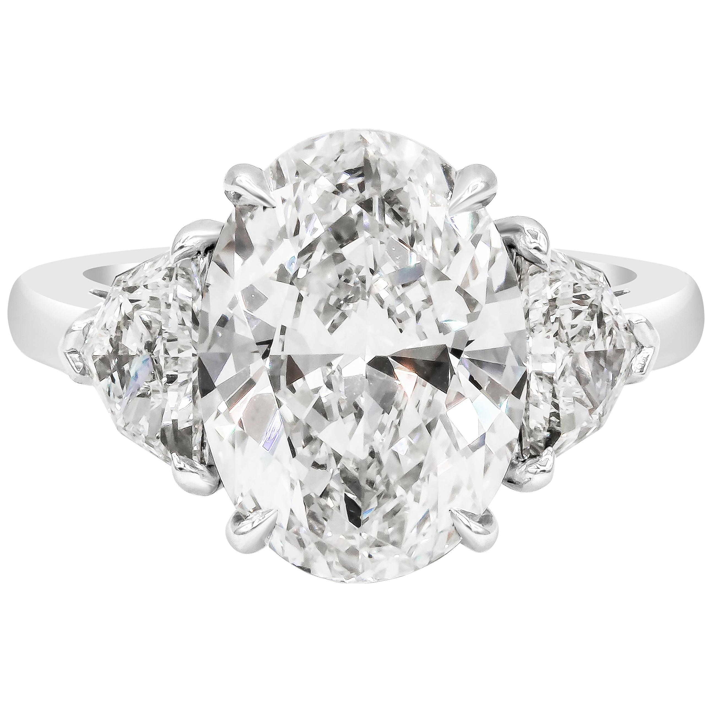 Roman Malakov GIA Certified Oval Cut Diamond Three-Stone Engagement Ring