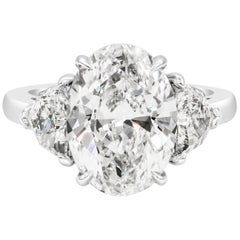 Roman Malakov GIA Certified Oval Cut Diamond Three-Stone Engagement Ring