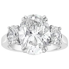GIA Certified Oval Cut Diamond Three-Stone Engagement Ring