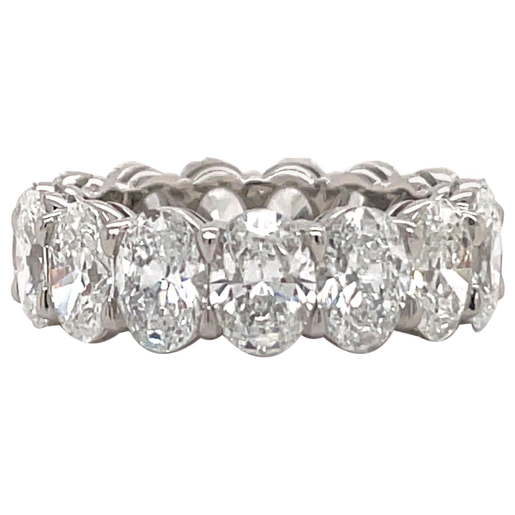GIA Certified Oval Cut Diamond Wedding Band 7.64 Carats D-F VVS-VS Platinum