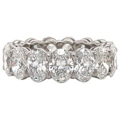 GIA Certified Oval Cut Diamond Wedding Band D-F VVS-VS Platinum