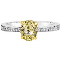 GIA Certified Oval Cut Yellow Diamond Engagement Ring