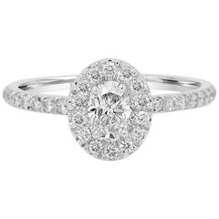 GIA Certified Oval Diamond Halo Gold Bridal Engagement Ring