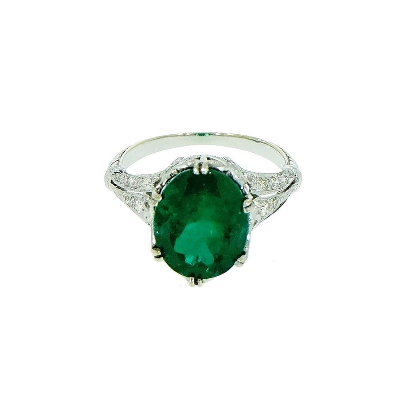 Art Deco GIA Certified Oval Emerald Vintage White Gold Ring For Sale