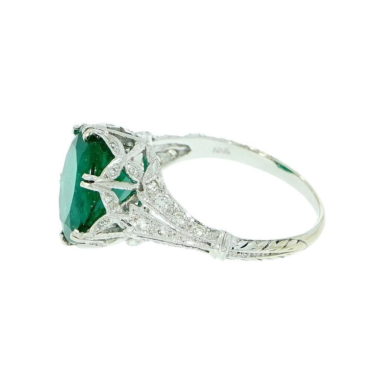 Oval Cut GIA Certified Oval Emerald Vintage White Gold Ring For Sale