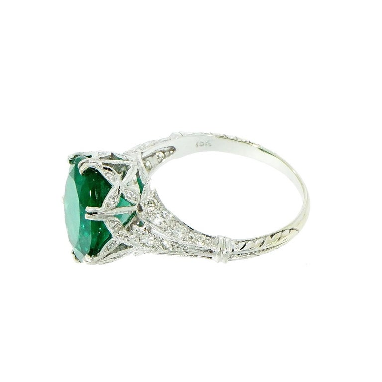 Women's GIA Certified Oval Emerald Vintage White Gold Ring For Sale