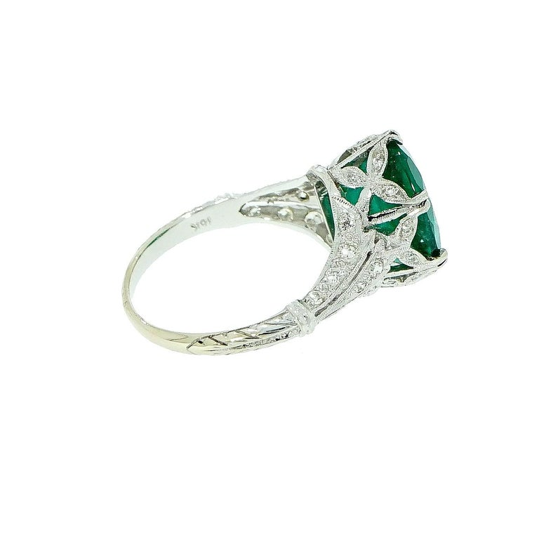 GIA Certified Oval Emerald Vintage White Gold Ring For Sale 1