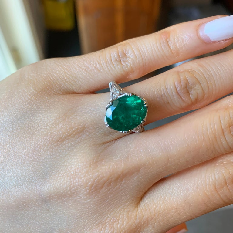 GIA Certified Oval Emerald Vintage White Gold Ring For Sale 2