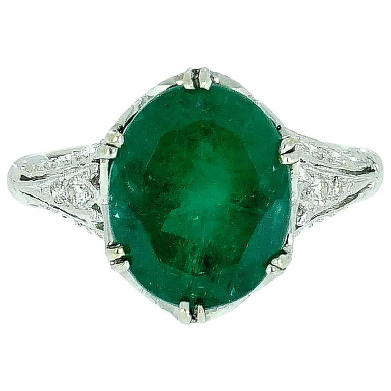 GIA Certified Oval Emerald Vintage White Gold Ring For Sale