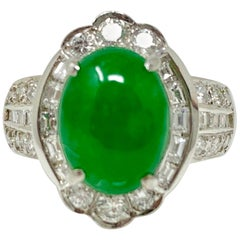 GIA Certified Oval Jadeite Jade Cabochon and White Diamond Ring in Platinum