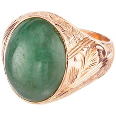 GIA Certified Oval Jadeite Jade Rose Gold Unisex Ring