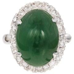 GIA Certified Oval Jadiete Jade Diamond Halo Platinum Cocktail Ring