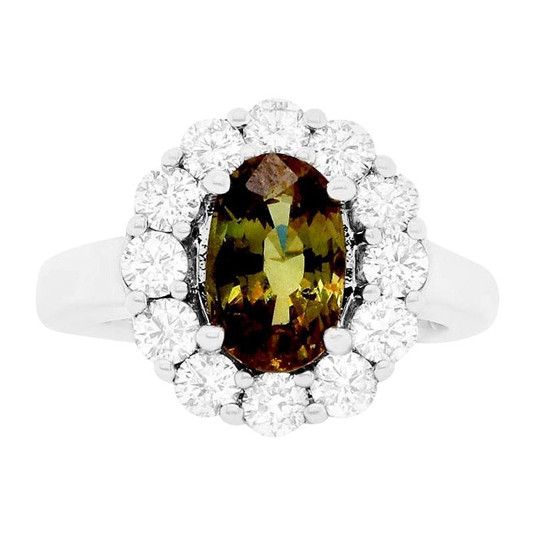 GIA Certified Oval Natural Color Changing Alexandrite Flower Engagement Ring For Sale