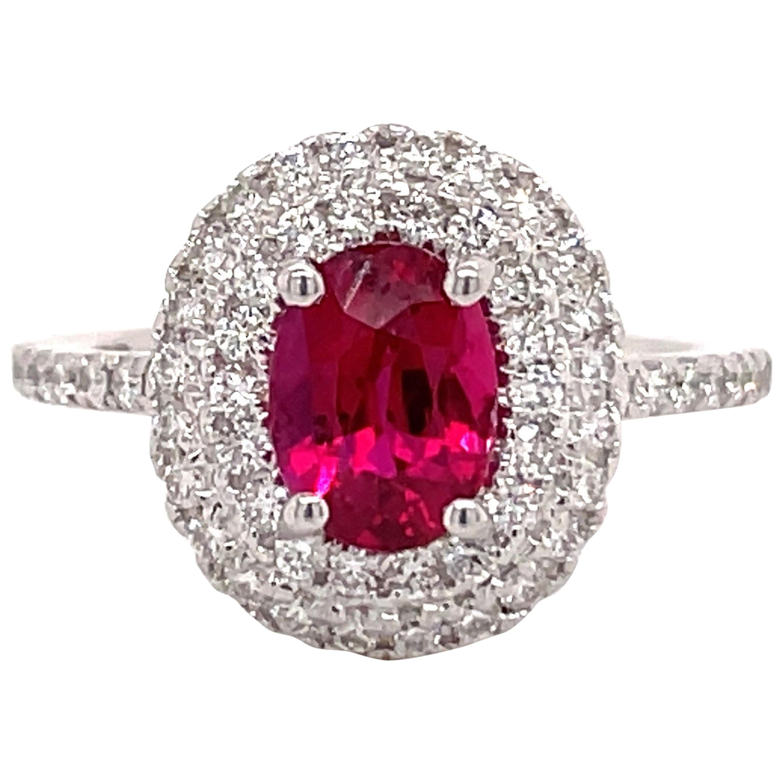 GIA Certified Oval Ruby Diamond Double Halo Ring 2.07 Carat 18 Karat White Gold