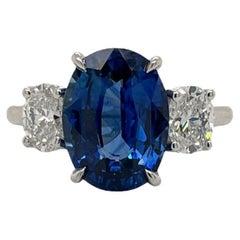 GIA Certified Oval Sapphire & Diamond Three Stone Ring in Platinum