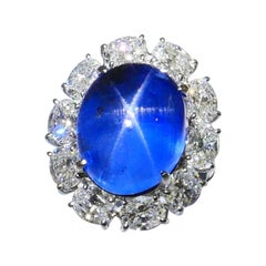 GIA Certified Over 21 Carats Star Sapphire Diamond Platinum Ring, Strong Star