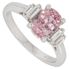 GIA Certified Padparadscha Pink Sapphire and Diamond Ring