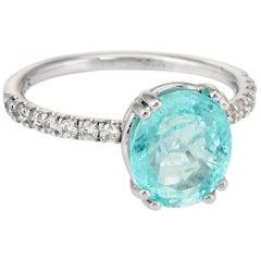 GIA Certified Paraiba Tourmaline Diamond Ring Estate 14 Karat White Gold