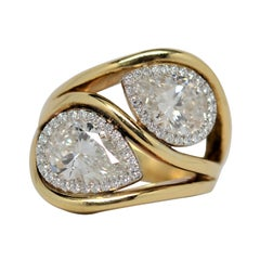 GIA Certified Pear Brilliant Cut Diamonds in Platinum & 18k Ring, 3.23 Carats