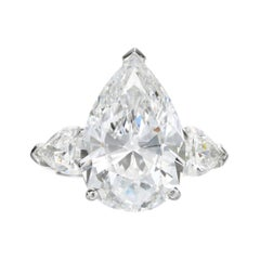 GIA Certified Pear Cut Diamond 4 Carat Solitaire Ring