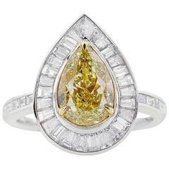 GIA Certified Pear Cut Fancy Yellow Diamond Ring, 3.08 Carat