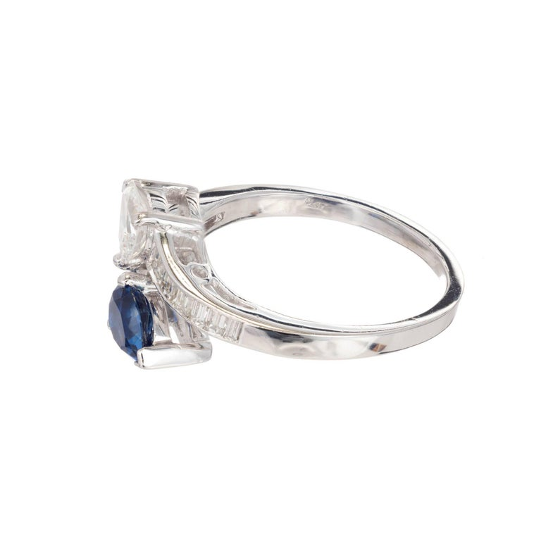 GIA Certified Pear Sapphire Diamond Swirl Bypass Platinum Cocktail Ring In Good Condition For Sale In Stamford, CT