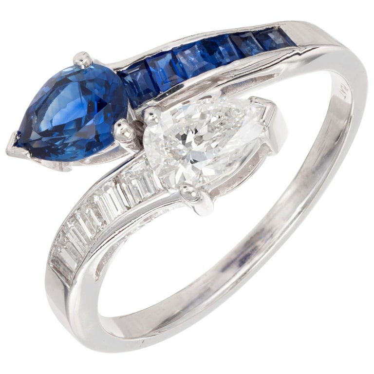 GIA Certified Pear Sapphire Diamond Swirl Bypass Platinum Cocktail Ring For Sale