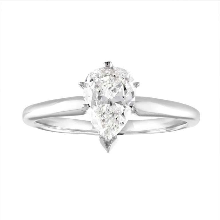 GIA Certified Pear Shape 1.04 Carat I VS1 Diamond Gold Solitaire Ring