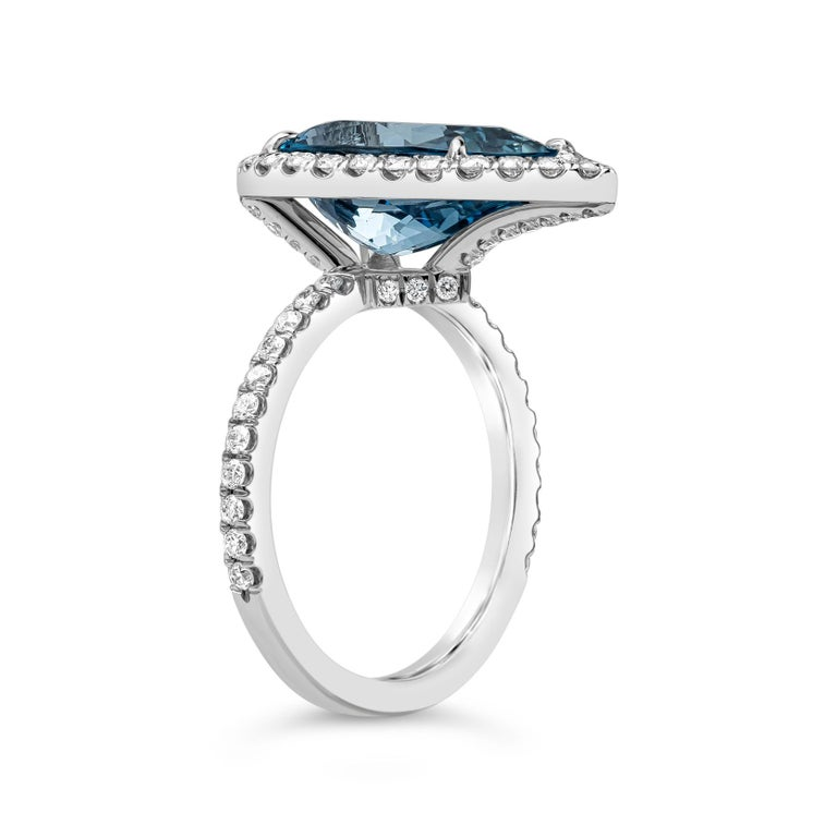 Pear Cut GIA Certified Pear Shape Aquamarine and Diamond Halo Engagement Ring For Sale